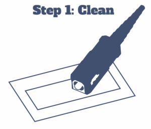 Diagram of a fiber optic connector and cleaning wipe